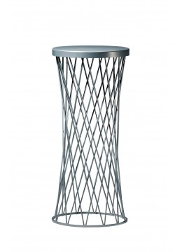 WIKA STAND, FINISH: ALUMINIUM-01 IRON BASE, ENGRAVED LEATHER TOP,