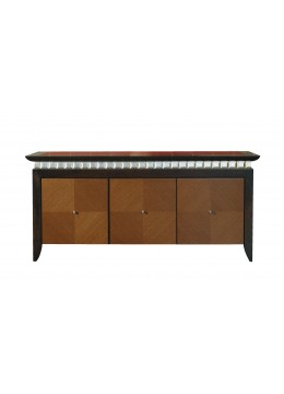 EVA SIDEBOARD, NATURAL WENGUE WOOD DOORS, LEATHER TOP,