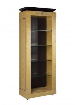 LEONID BOOKCASE, MYRTLE WOOD, GLASS SHELVES, UPHOLSTERED BACK, NICKEL DECORATION, METAL LEGS
