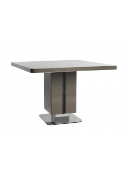 MASTER AUXILIARY TABLE FOR DESK, LACQUERED SHINY FINISH, LEATHER DECORATION, 110X110 CM