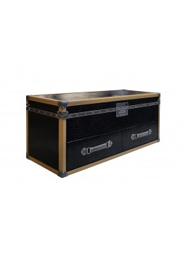 SPECIAL EDITION TRAVELER TRUNK/MINKPARTS,FINISH IN LEATHER,TWO DRAWERS