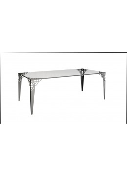 REGINA DEI GHIACCI DINING TABLE, STAINLESS STEEL LEGS, 10MM TEMPERED GLASS, 200*100*76H