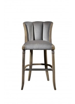 CASABLANCA BAR STOOL, UPHOLSTERY: WITHOUT FABRIC, FINISHING: ON WOOD, WITH STAINLESS STEEL FOOT PROTECTION, C.O.M.