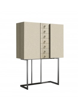 IRIS HIGH SIDEBOARD, ERABLE FINISH, CHROMED STAND, SHINY NATURAL FINISH, 6 GLASS SHELVES, BACK PANNEL: WITHOUT FABRIC,