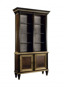 LAURA BOOKSHELF, OLD OLIVE TREE VENEER, UPHOLSTERY: WITHOUT FABRIC,