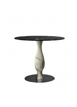 EMINA SIDE TABLE, FINISH: WOOD AND STEEL, 15 MM. TEMPERED GLASS TOP, 90D