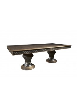JUAN CARLOS DINING TABLE WITH COLUMNS, OAK TREE ROOT TOP WITH WALNUT STRIPE, 250*120CM,