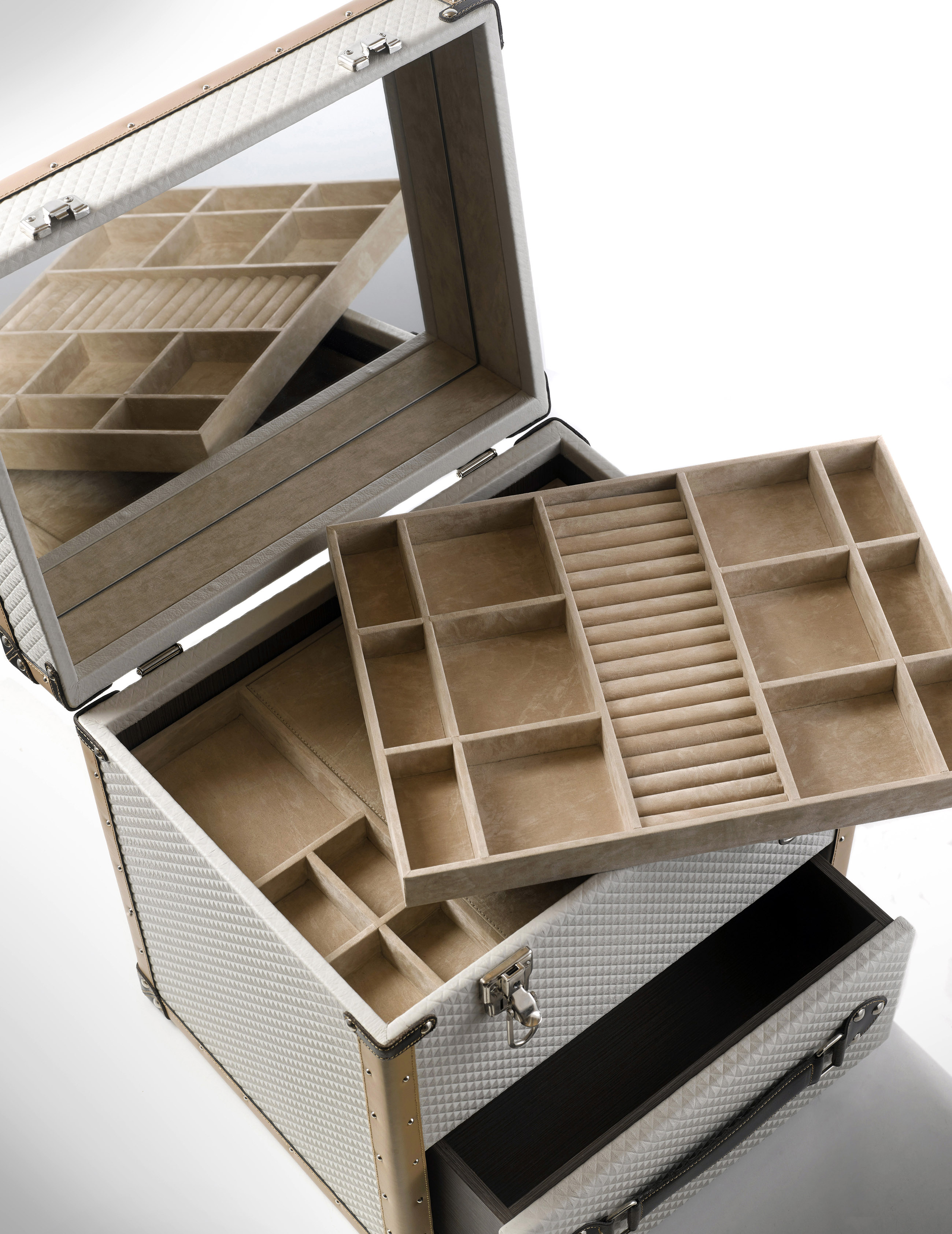 luxury jewellery box, The Traveler jewellery box is adorned in leather.
