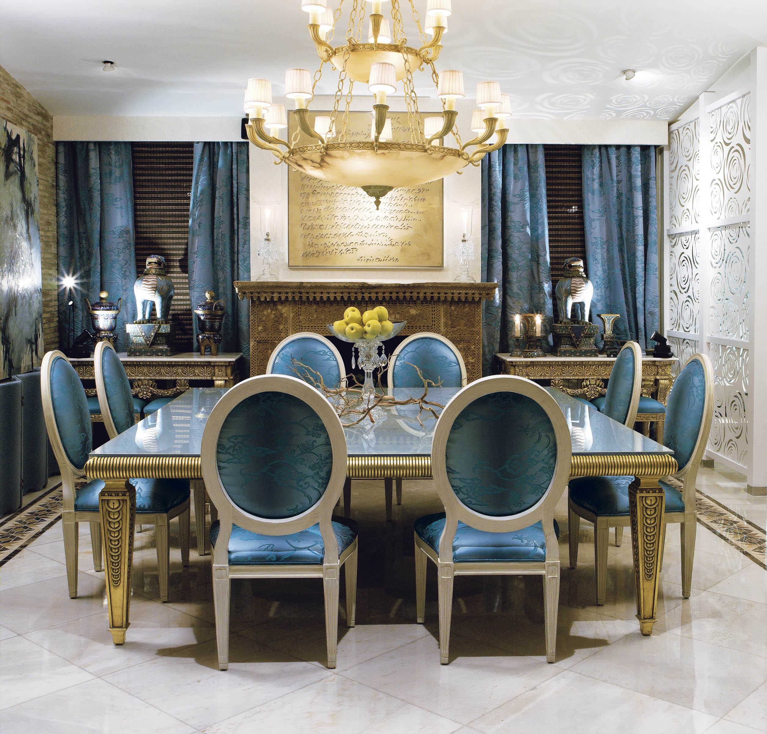 Large Dining Table Gold Leaf Traditional Room
