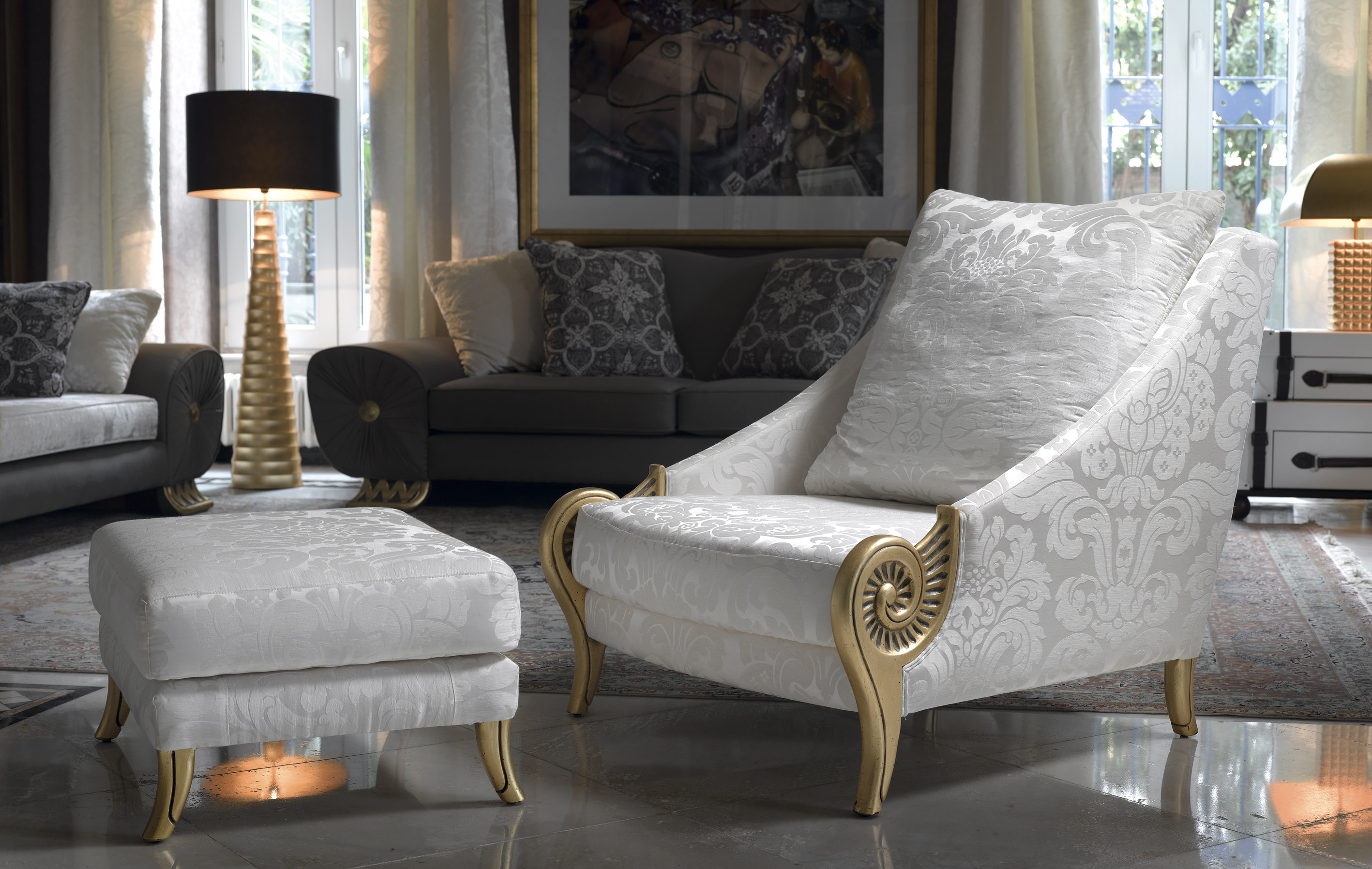 luxury white armchair, luxury white and gold armchair