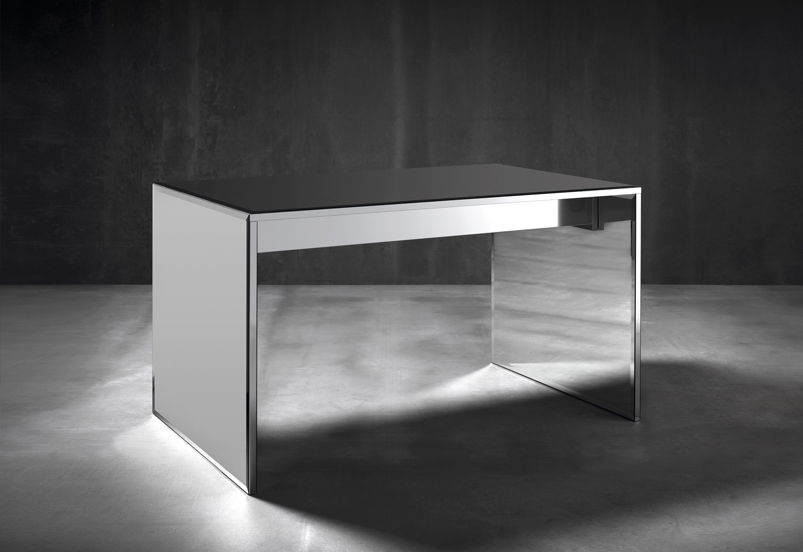 contemporary desk, modern desk, mirror desk, mirrored desk