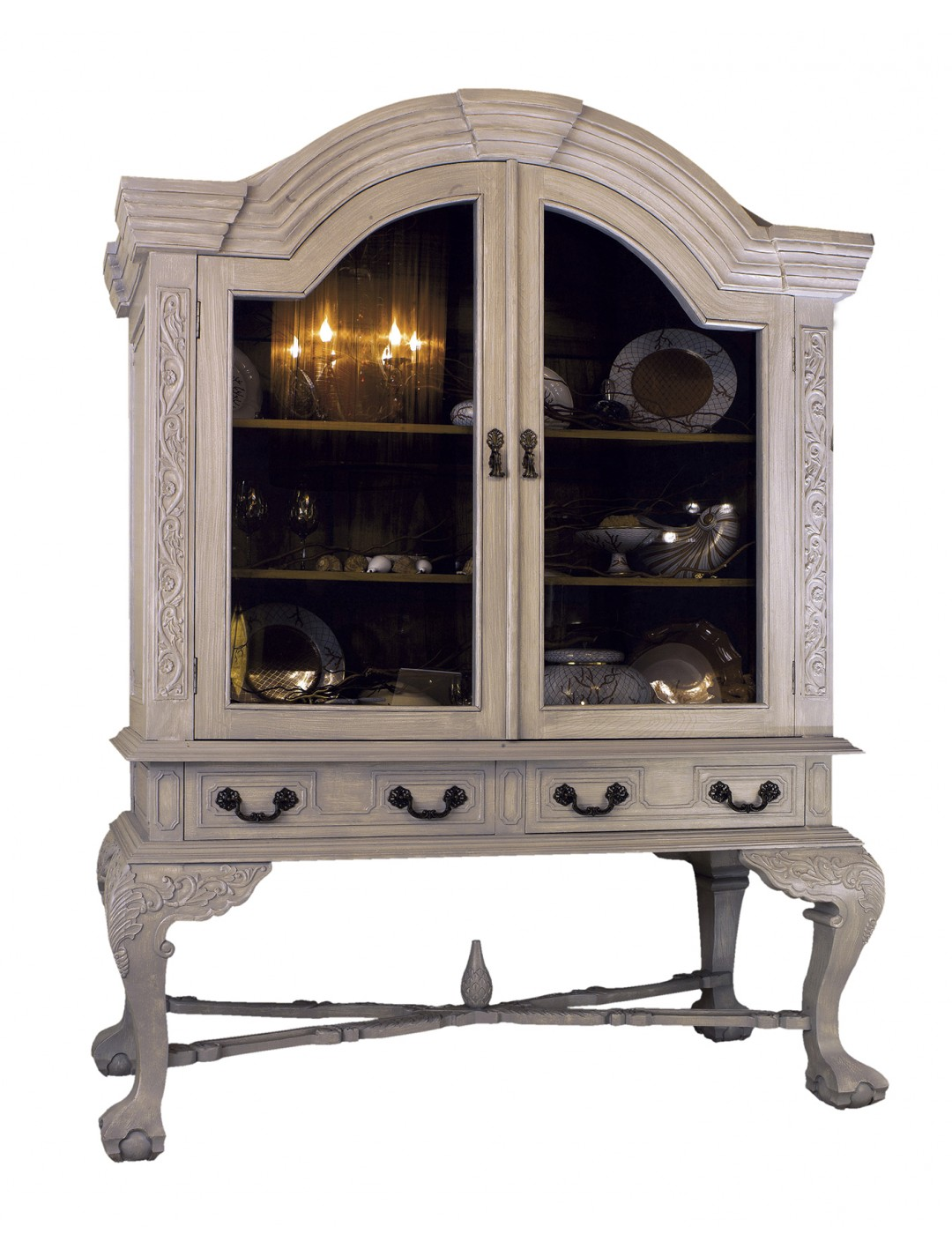 MONTOYA CARVED WOOD DISPLAY CABINET, C.O.M.