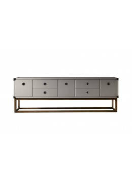 Valentina high sideboard with leather details onyx black for Sideboard 240 cm