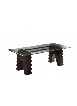 BERTA DINING TABLE BASE, ALUMINIUM PROFILES IN LEATHER L0040*, WITHOUT GLASS TOP,
