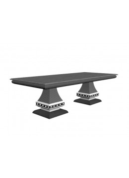 DECO DINING TABLE WITH COLUMNS, OLIVE ROOT VENEER 250X110 CM. EXTENSIBLE TO 350 CM