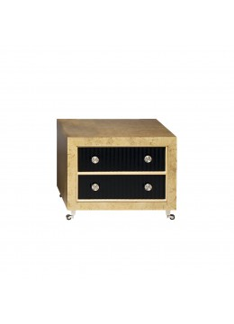 LEONID CHEST OF DRAWERS, MYRTLE WOOD, BLACK ECO LEATHER DRAWER FRONT, NICKEL DECORATION,