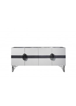 REGINA DEI GHIACCI SIDEBOARD,  STAINLESS STEEL LEGS AND HARDWARE, TWO GLASS SHELVES,