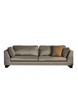 DUNE 340 CM SOFA, UPHOLSTERY: WITHOUT FABRIC, WITH TWO 60*50 CUSHIONS, BROWN ARTIFICIAL LEATHER ON LEGS, C.O.M.