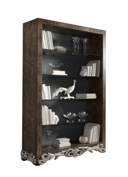 LEONOR BOOKCASE, OLIVE TREE ROOT, GLASS SHELVES, UPHOLSTERED BACK PART, WITHOUT FABRIC