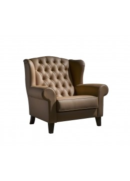 CHARLES WING CHAIR, QUILTED BACK UPHOLSTERY,