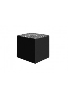 WIKA CUBO POUFF, FOR LEATHER UPHOLSTERY, SILVER PRINT,